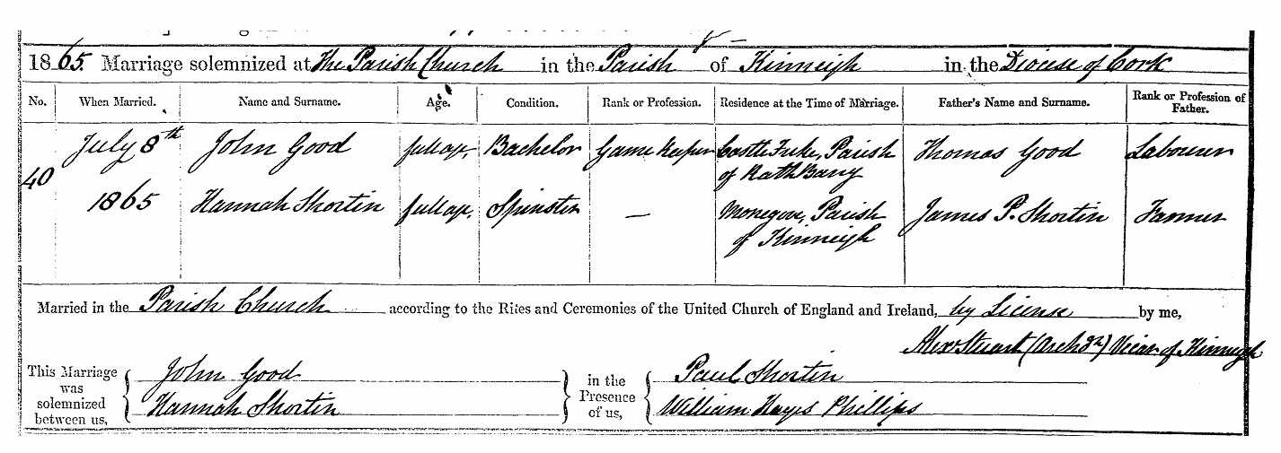 Marriage of John GOOD to Hannah SHORTEN in 1865 (John GOOD, Gamekeeper at Castlefreke)