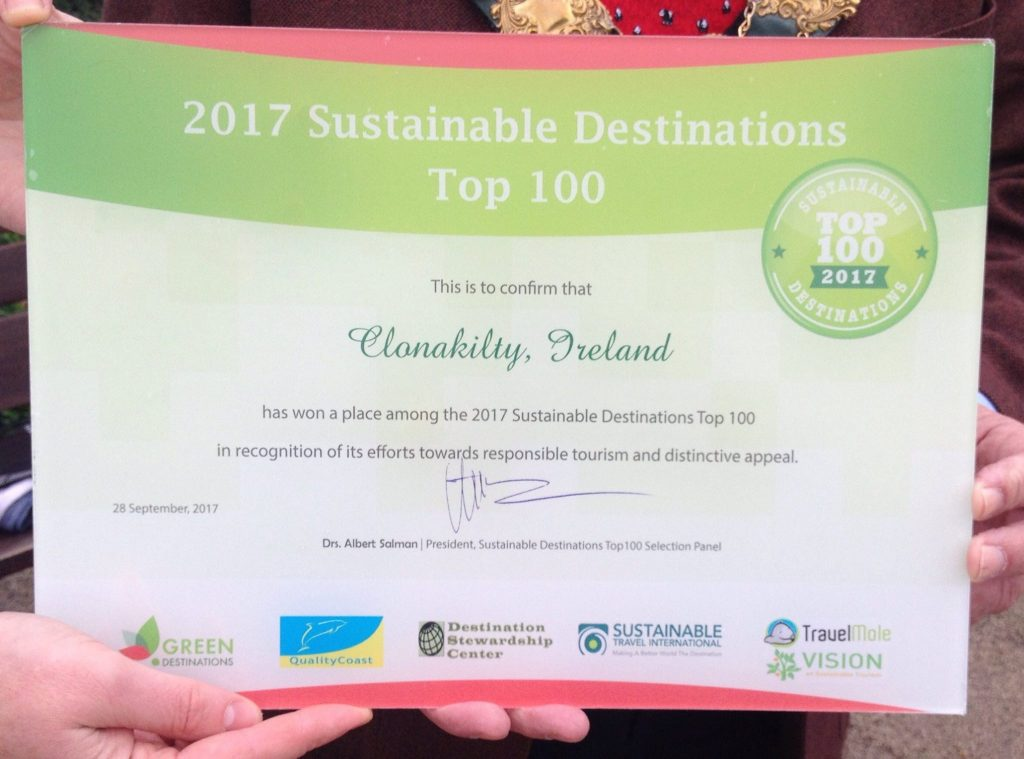 The town Mayor holds the recognition of Clonakilty's sustainable tourist development