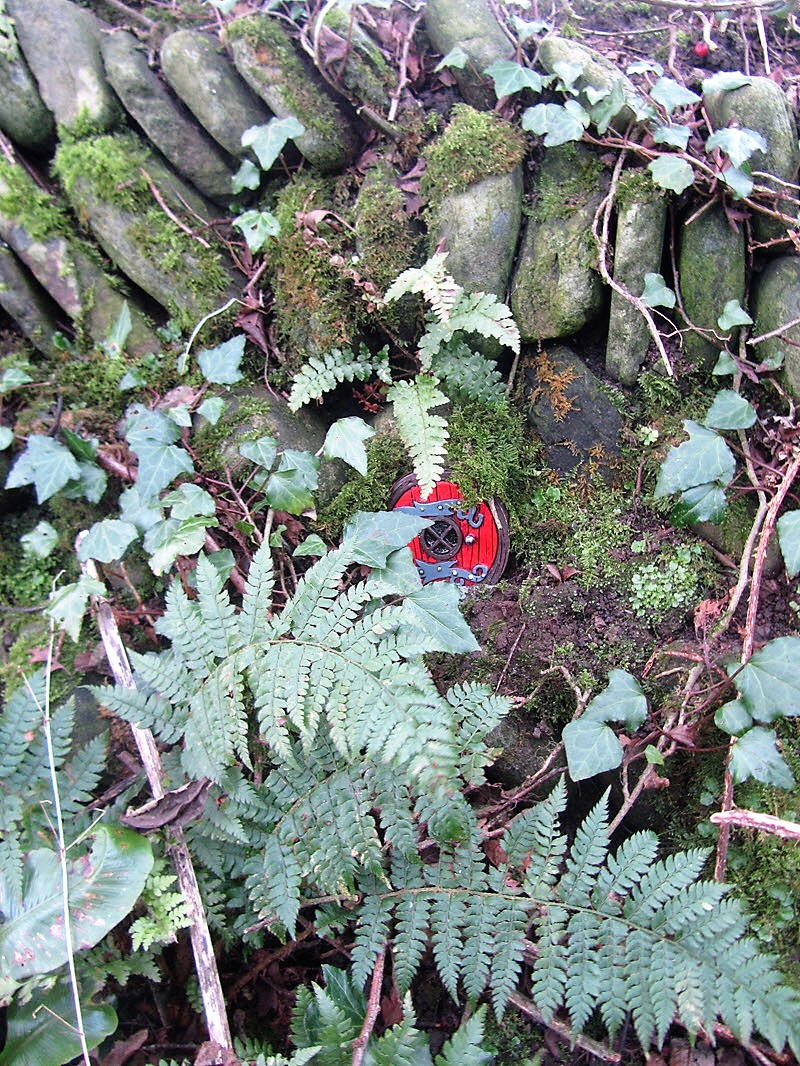 A red Fairy Door at Ballynoe House Woodland Trail