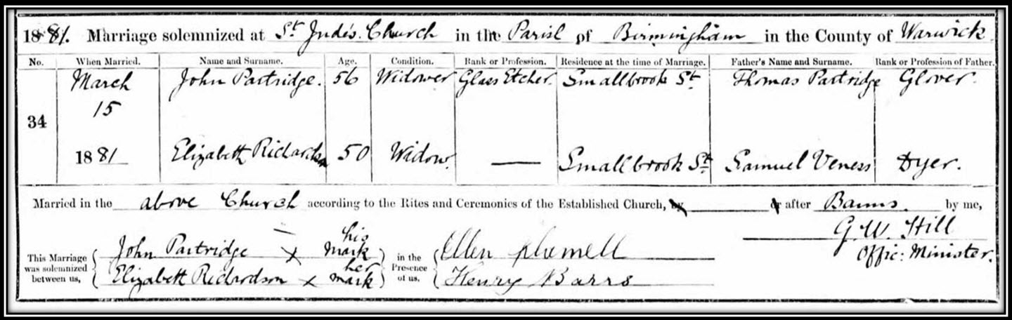 The marriage of John PARTRIDGE & Elizabeth RICHARDSON in 1881