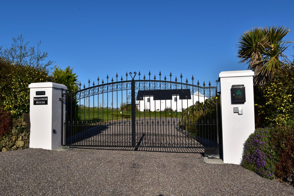 The main gates at Ballynoe House provide additional safety and security, as required