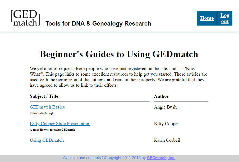Beginner's Guide to GEDmatch