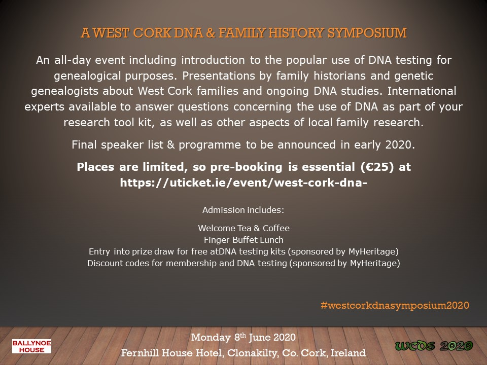 West Cork DNA & Family History Symposium 2020 Description & Booking
